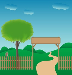 Ilustrated gateway to the countryside vector