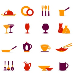kitchen utensil icons vector image
