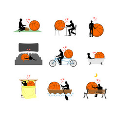 Lover basketball set man and ball in movie vector