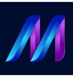 M letter volume blue and purple color logo design vector image