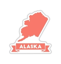Paper sticker on white background alaska map vector