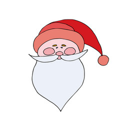 santa claus in red cap with pompon mustache with a vector image