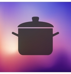 Saucepan icon on blurred background vector