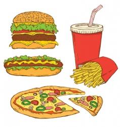 Set of fast food v vector