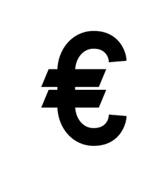 silhouette with currency symbol of euro in black vector image