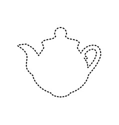 tea maker sign black dashed icon on white vector image vector image
