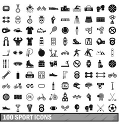 100 sport icons set in simple style vector