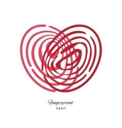 Fingerprint Red Heart Isolated On White Background vector image