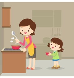Girl and mother cooking in the kitchen vector