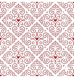 Seamless ornate pattern with hearts vector