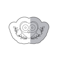 sticker monochrome with half shadow and owl vector image