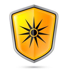 Warning sign on shield indicating warning of vector