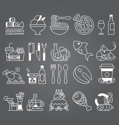 white line set of flat icons and elements vector image