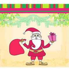 Funny card with santa claus vintage paper texture vector