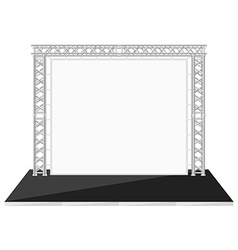 Black color flat style low stage with banner on vector