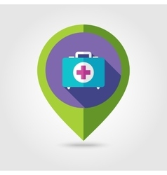 First aid flat mapping pin icon with long shadow vector