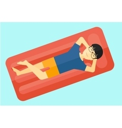 Man relaxing in swimming pool vector