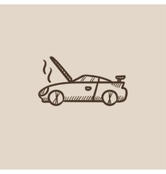 Broken car with open hood sketch icon vector