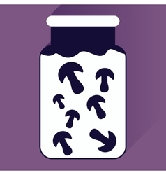 flat icon with long shadow pickled mushrooms vector image