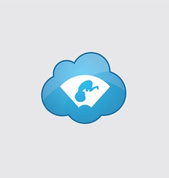 Blue cloud ultrasound icon vector