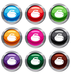 Curling stone set 9 collection vector