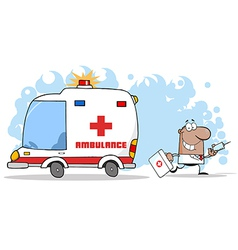 Doctor running with a syringe and bag vector
