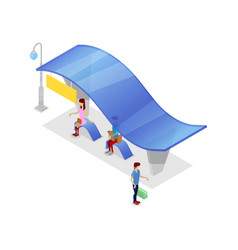 downtown transport stop isometric 3d icon vector image