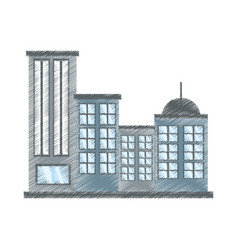 drawing building modern urban vector image