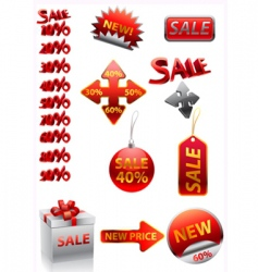 Ector great collection of red signs vector image