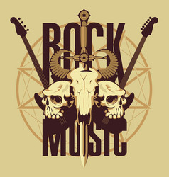 emblem with skulls sword guitars and pentagram vector image