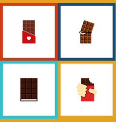 Flat icon chocolate set of dessert shaped box vector