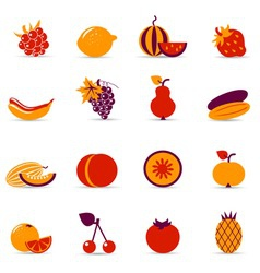 Fresh food icons vector