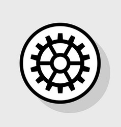 Gear sign flat black icon in white circle vector