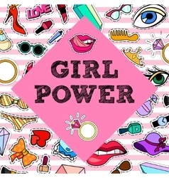 Girl power poster banner with patch badges vector
