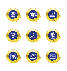 Gold circle and check mark with education icons vector