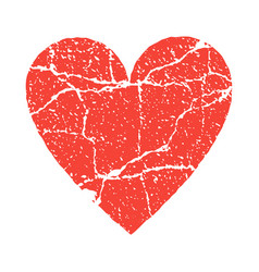 Grunge paer red heart transparent vector