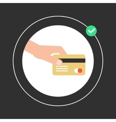 Hand holding golden credit card in white circle vector