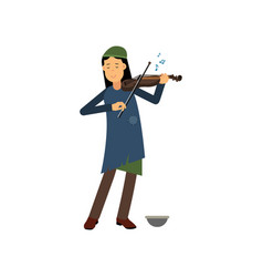 Homeless woman playing violin on the street vector