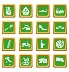 Italia icons set green vector