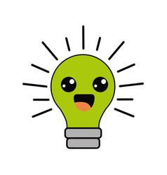 Kawaii happy bulb icon vector