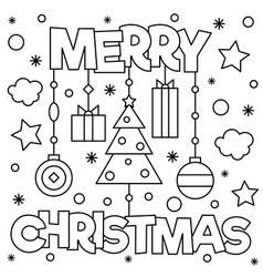 merry christmas coloring page vector image