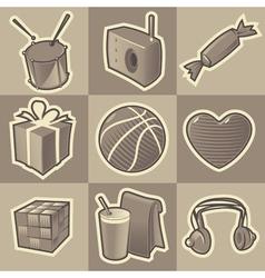 Monochrome teen icons vector image