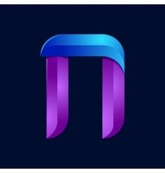N letter volume blue and purple color logo design vector image