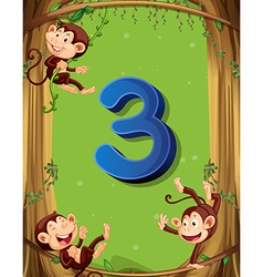 Number three with 3 monkeys on the tree vector
