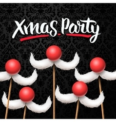 Office Christmas Party card Santa moustache vector image vector image