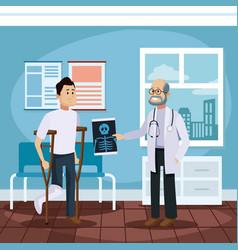 Patient at doctors office cartoon vector