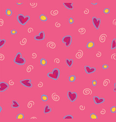 pattern red hearts on rose background vector image