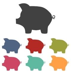 Pig money bank icons set vector