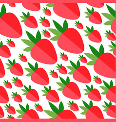 red flat strawberries on white background vector image