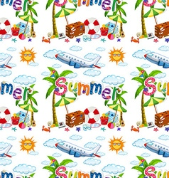 Seamless background with summer vacation vector